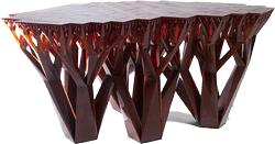 Table dotée d'une structure fractale imprimée grâce à une imprimante 3D.