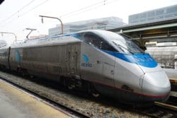 Amtrak Acela Express train stopped at Union Station in August 2019.