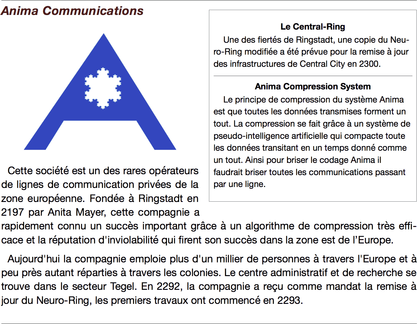 Logo Anima avec mise en page décrivant l'organisation
