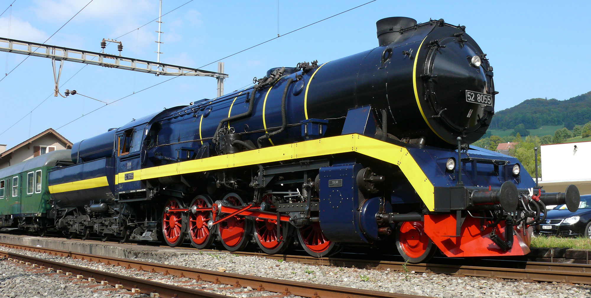 Steam locomotive modernised by Dampflokomotiv- und Maschinenfabrik DLM of Winterthur,