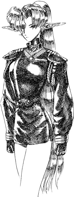 Une elfe dans un uniforme militaire noir