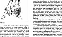 Album de Famille – Isaline – Un personnage non-joueur pour Rêve de Dragon – Dessin d'une aubergiste par Laurent Nègre avec une capture du text