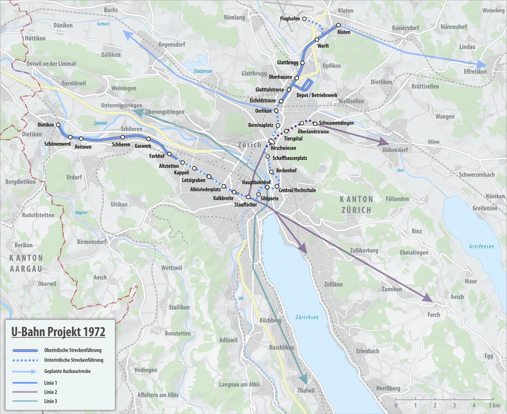 Plan du Métro de Zürich 1972
