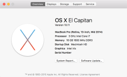 Mac OS X El Capitan – About Screen