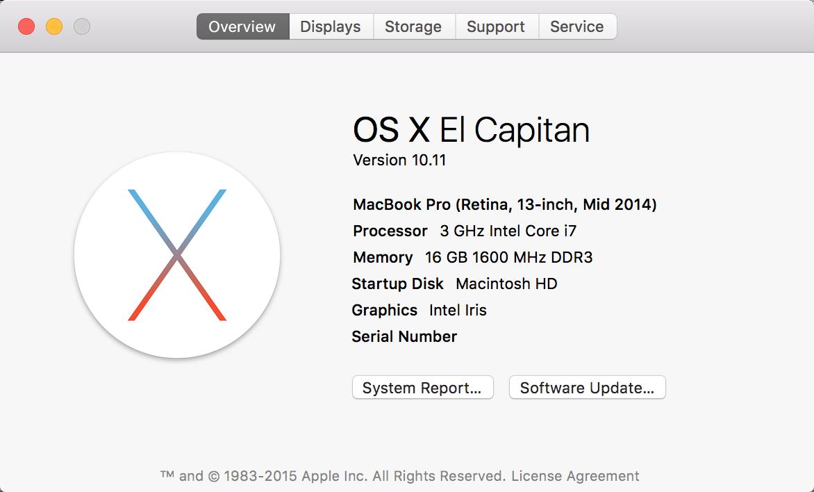 Mac OS X El Capitan – About Screen