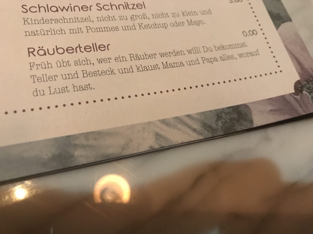 Menu avec une entrée de Räuberteller