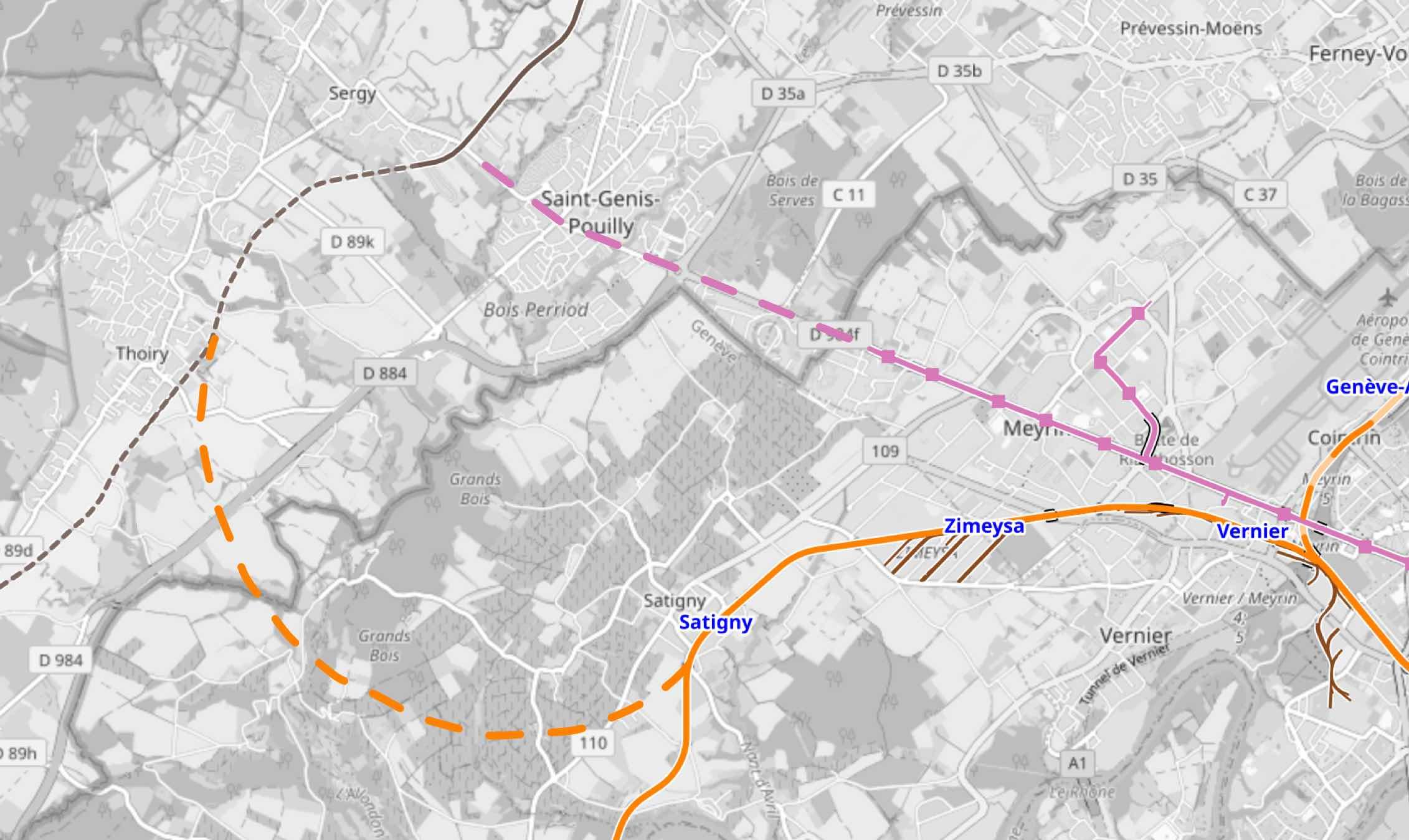 Carte boucle ferroviaire Saint-Genis-Pouilly