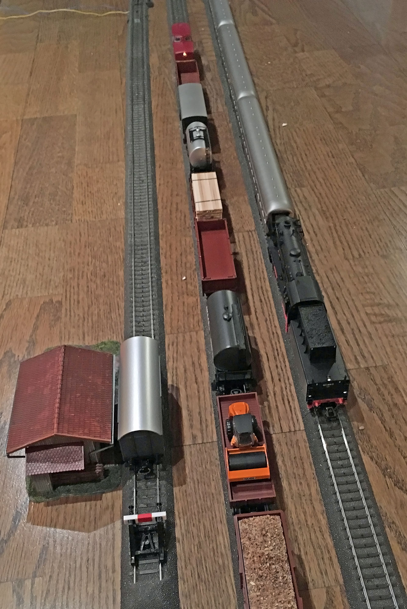Train miniatures à même le parquet