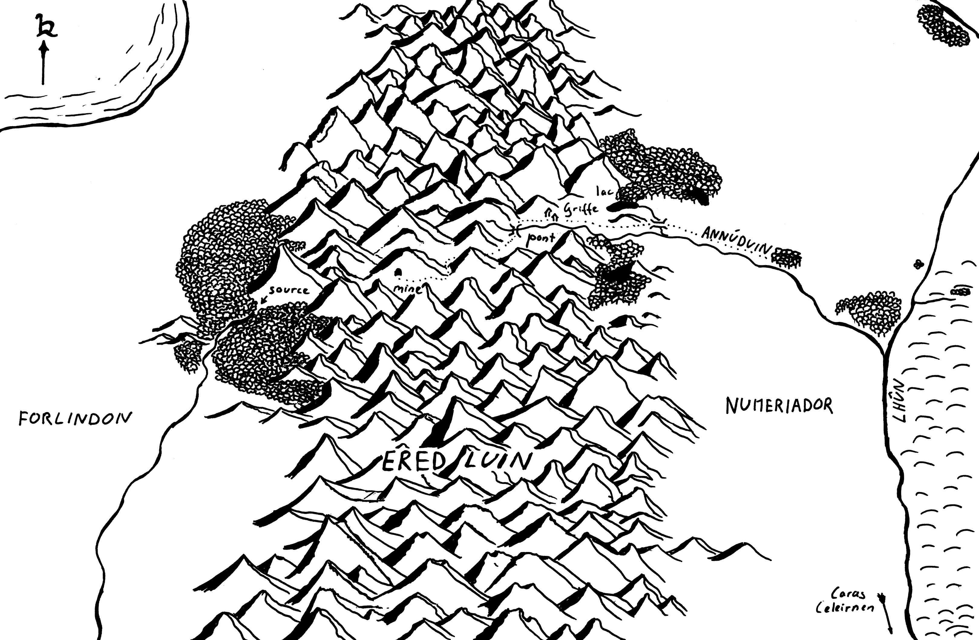 Carte de la région des montagnes bleues à l'ouest de l'Arthedain