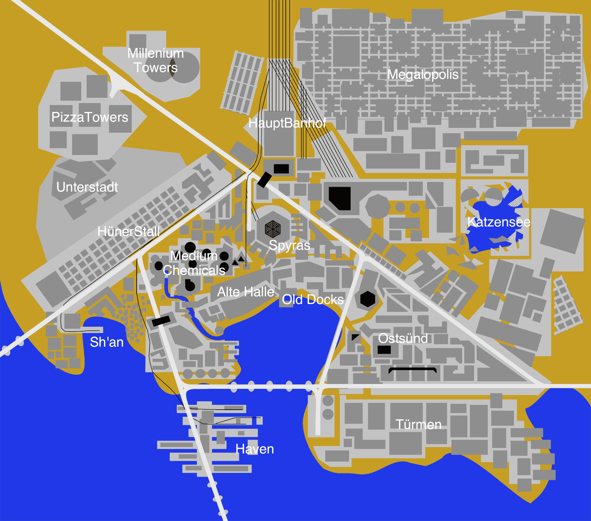 Plan de la ville de Wahlenstadt, dans l'univers de Tigres Volants