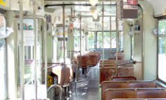 "Trams in ZüŸrich: Interior view of a Be 4/6 ""Mirage""."