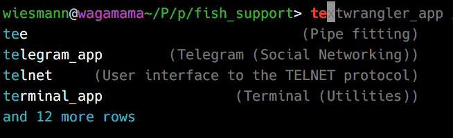 Screenshot of a terminal running the fish shell with tab completion of applications starting with 'te'