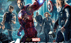 The Hulk, Hawkeye, Iron Man, Nick Furry, Black Widow, Captain America, Thor in Front of a New-York landscape with explosions, flying monsters and a beam of Light out of Stark Tower
