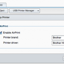 Screen Capture for configuration Airprint on Synology NAS