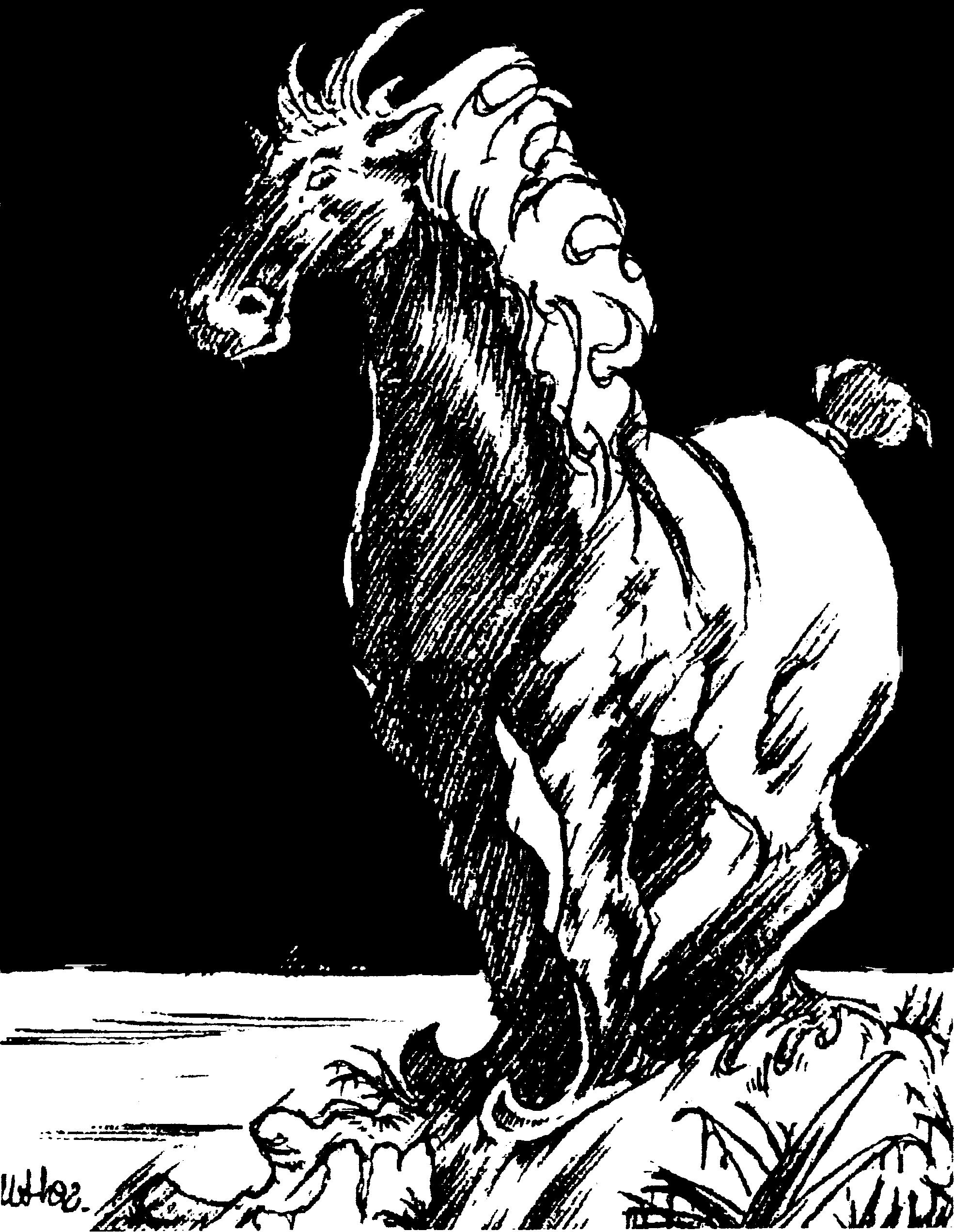 Un cheval avec des patins en guise de sabots