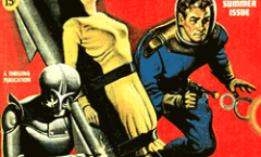 Cover of an original Captain Future, showing Joan chained to a rocket.