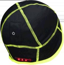 bonnet en fourrure polaire noire avec des bordure jaune fluo et une lumière rouge visible