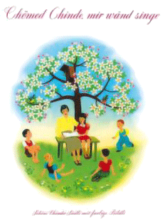 Cover of a singing book: a tree with below it a lady with a yellow blouse and a brown skirt, reading from a book. She is surrendered by five kids.