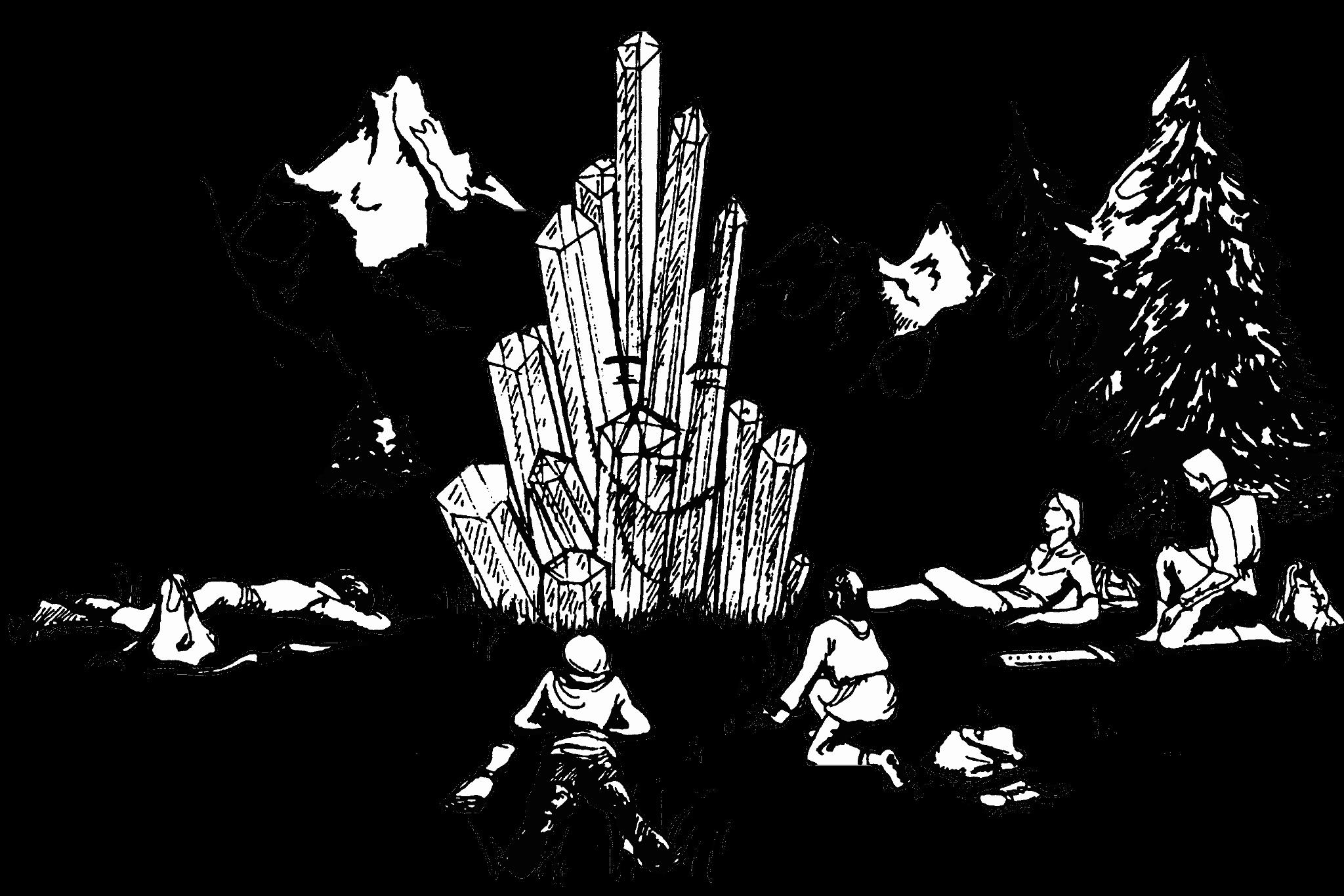 Un groupe d'aventurier s'éveillant autours d'un cristal avec en fond des montagnes.