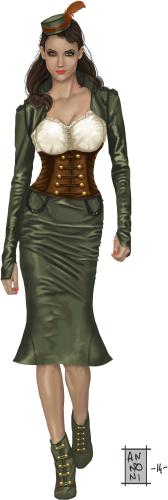 Une femme dans une robe khaki avec un corset en cuir brun et une chemise blanche