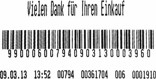 Ticket de caisse de la Coop Vielen Dank für Ihren Einkauf 99000600794090313000396009:03:13 13:52 00794 00361704 006 0001910