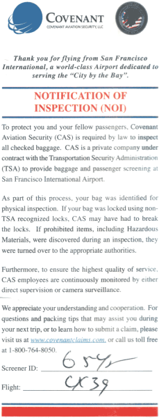 Notice of Inspection