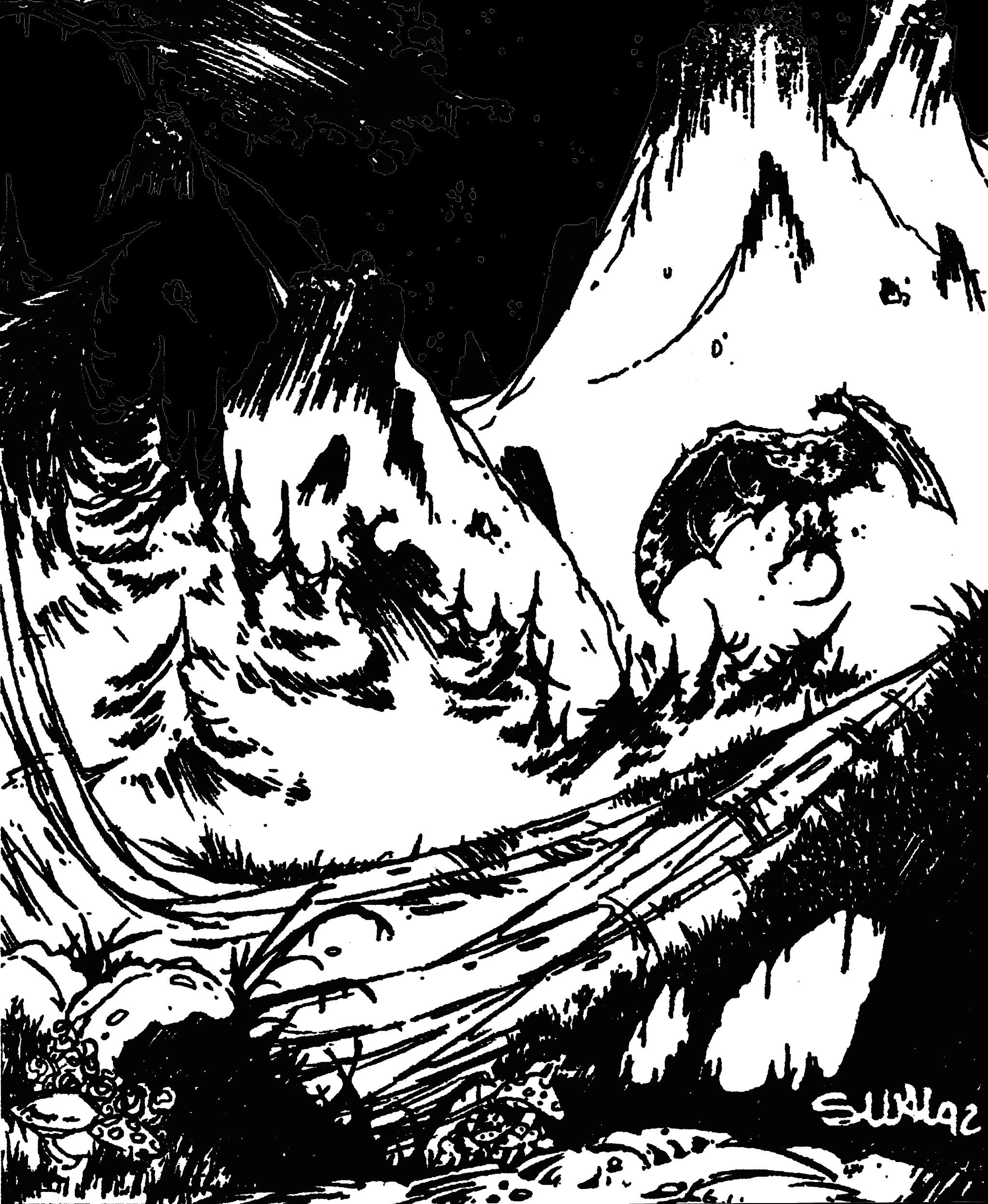 Une créature ailée dans une forêt devant une chaîne de montagnes