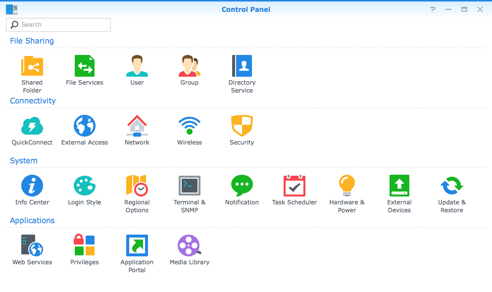 screen capture of the DSM control panel UI