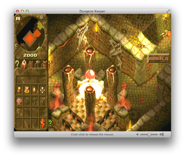 Mac OS X Window showing the dungeon heart of Dungeon Keeper