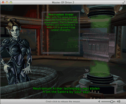 Screen Capture of the Game Master of Orion II showing an Elerian spy returning a stolen technology: Neutronium Armor