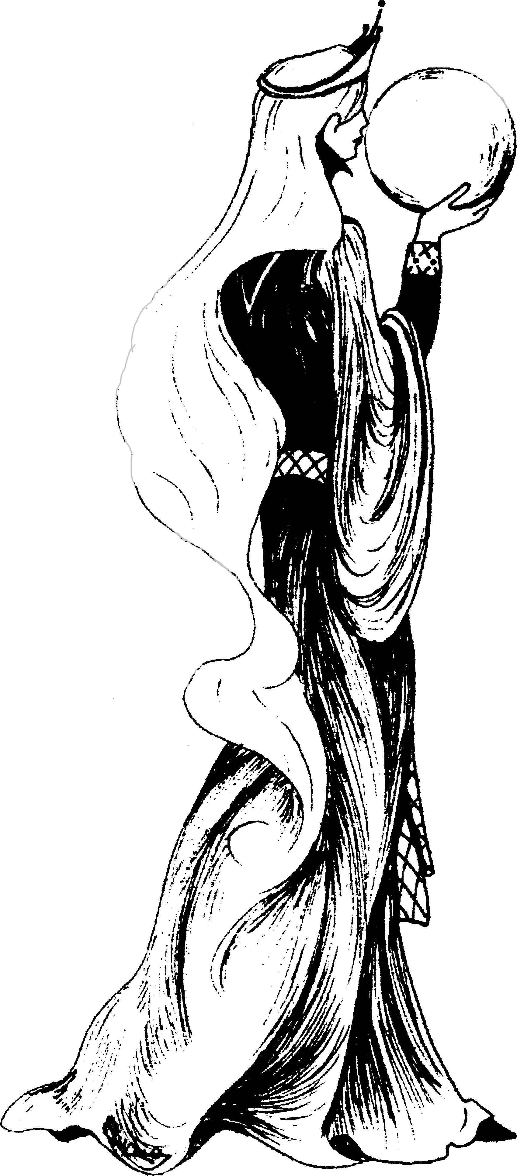 Erlaine des Deux Fanions – Une femme avec une longue chevelure tenant une boule de cristal