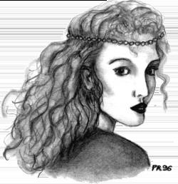 Visage d'une femme avec des cheveux longs