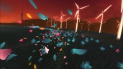 Flower Petals fluttering in front of windmills