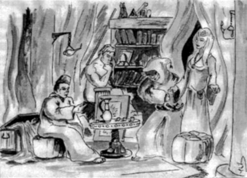 Une femme, un personnage sous une capuche dans la boutique d'un marchand