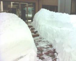 Neige devant le guesthouse