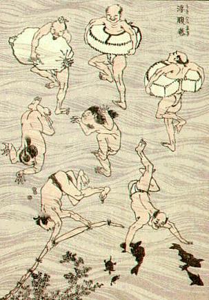 Fragment des Baigneurs de Katsushika Hokusai.