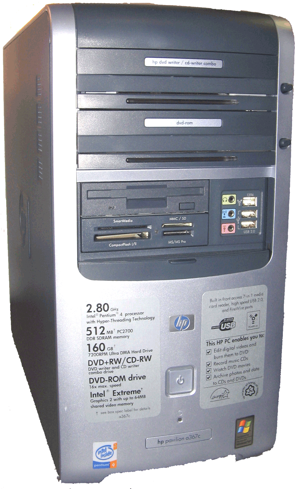 Mini tower PC with 2 optimal drives, 4 media ports, one floppy disk and sound input/output