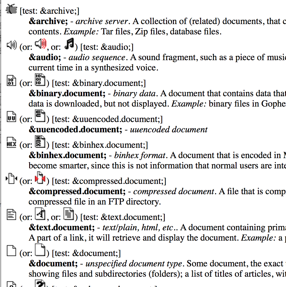 Screen Capture from the document HTML predefined icon-like symbols