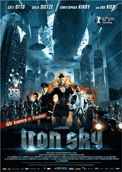 New-York City Overcast by the Moon and Zeppelins, with an explosion in the centre and the cast of Iron Sky in front