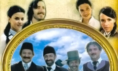 Cover of the DVD of Ivkova Slava: a frame with the four friends in blue background in the center, the young couple on the left, the wifes on the right