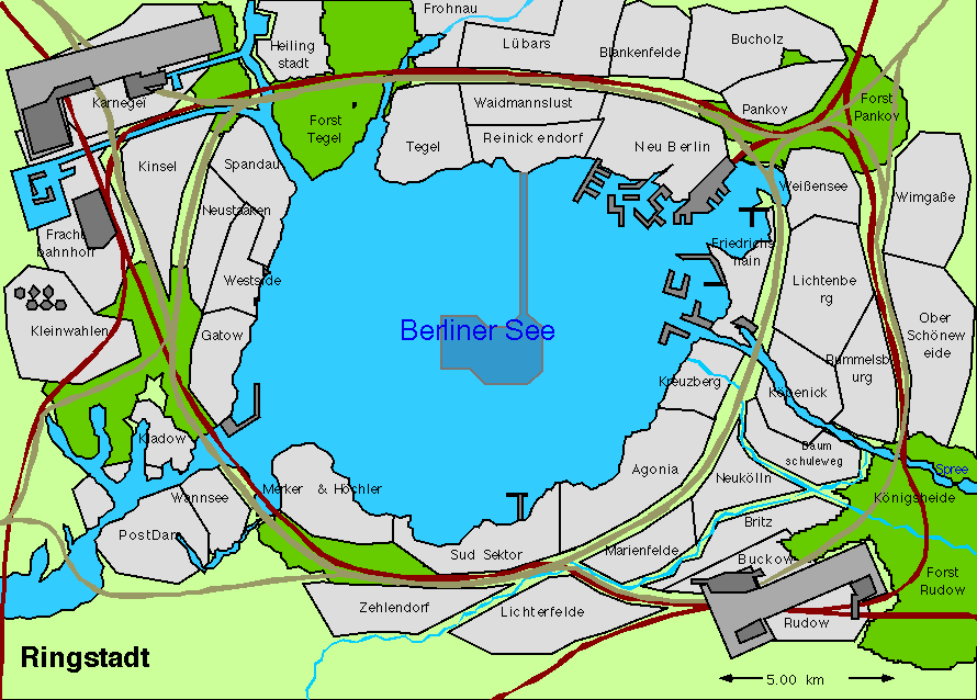 A 16 colour map of a city with a lake in the Center