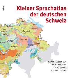 Couverture du livre «Kleiner Sprachatlas der deutschen Schweiz» avec en fond la carte pour le mot «Gouille»