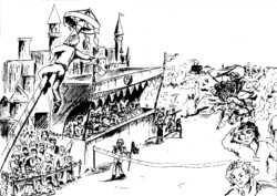 La cérémonie d'arrivée d'une course dans un monde médiéval, avec un chariot arrivant du côté inattendu