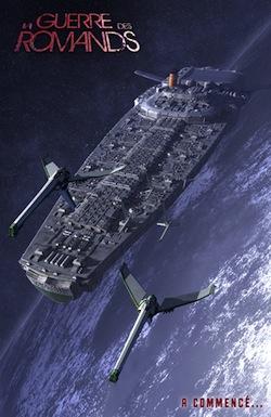 Le vaisseau spatial VDS Carnotzet avec deux chasseurs d'escorte sur fond de planète
