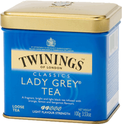 Blue metallic box of Twinings classical Lady Grey Tea