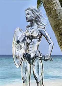 Une femme translucide avec une épée laser dans la main