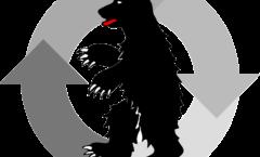 Logo de la ville de Ringstadt – Un ours dressé contourné sur quatre flèches tournant en cercle
