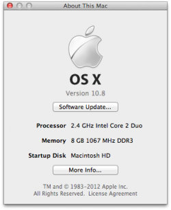 About this mac dialog box showing the information for my laptop using Mac OS X 10.8