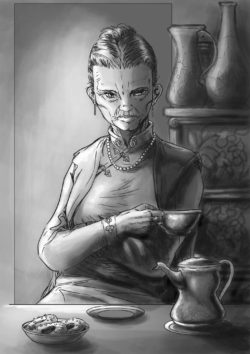 Une vieille femme dans une tenue chinoise buvant le thé