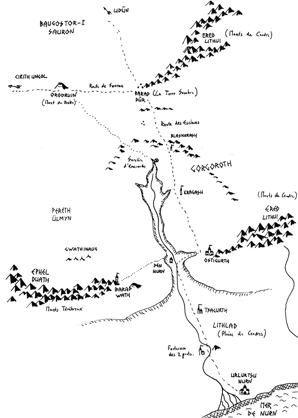 Carte de la zone du Mordor entre la mer de Nurn et le mont du destin